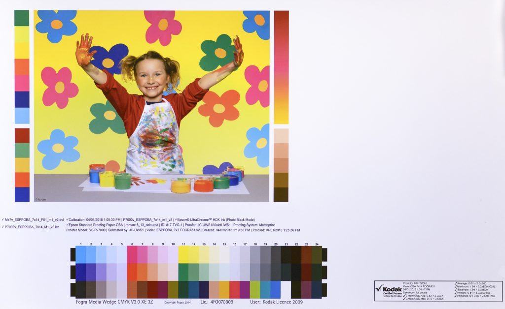 Certified Proofing for Color Confirmation showing FOGRA51 ISO12647 conformance
